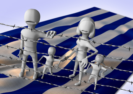 middleeast: migration to europe concept - crisis in Greece - 3D illustration