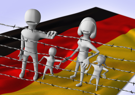 iraq war: migration to europe concept - crisis in Germany - 3D illustration Stock Photo