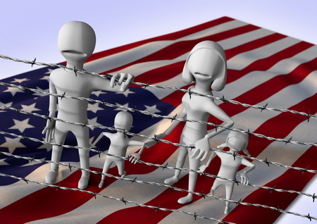 migration to europe concept - crisis in USA- 3D illustration