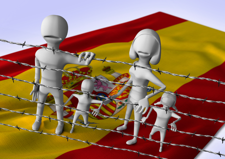migration: migration to europe concept - crisis in Spain - 3D illustration