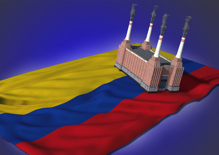 colombian: national heavy industry concept - theme with Colombian flag and factory on blue background