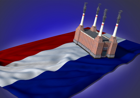 netherlandish: national heavy industry concept - theme with Netherlandish flag and factory on blue background