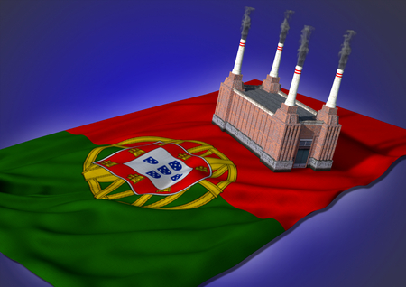 portugese: national heavy industry concept - theme with Portugese flag and factory on blue background