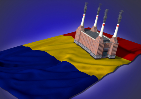 rumania: national heavy industry concept - theme with Romanian flag and factory on blue background