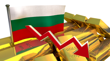 collapse: national economy concept  - currency collapse - Bulgarian lev Stock Photo