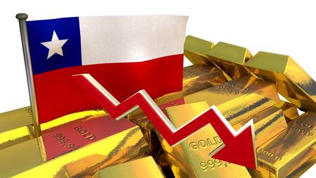 derrumbe: Gráfico de las finanzas 3D - colapso de la moneda - peso chileno