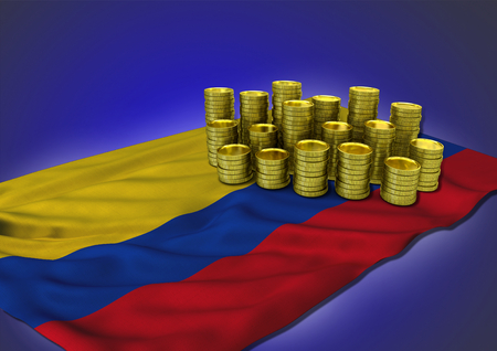 columbian: Columbian economy concept with national flag and stack of golden coins on blue background Stock Photo