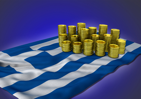 greek coins: Greek economy concept with national flag and stack of golden coins on blue background - 3D render