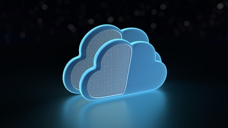 zeroes: Cloud computing technology theme on black background - 3D render