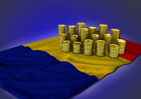 rumania: Romanian economy concept with national flag and stack of golden coins on blue background - 3D render