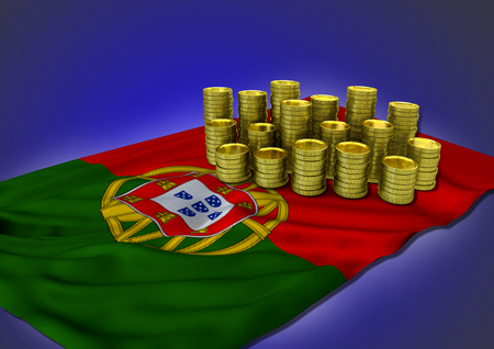 portugese: Portugese economy concept with national flag and stack of golden coins on blue background - 3D render