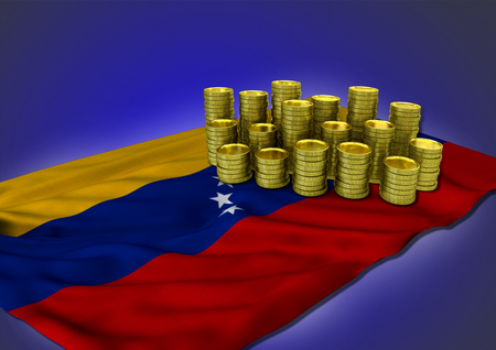 venezuelan: Venezuelan economy concept with national flag and stack of golden coins on blue background - 3D render Stock Photo