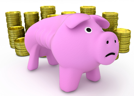 Financial despair and bankruptcy concept - sad piggy bank with golden coins on white background - 3D render