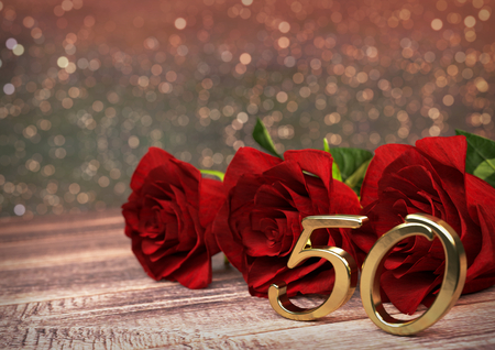 birthday concept with red roses on wooden desk. 3D render - fiftieth birthday. 50th Standard-Bild