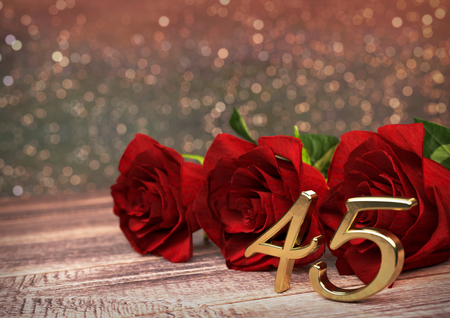 birthday concept with red roses on wooden desk. 3D render - fortyfifth birthday. 45th