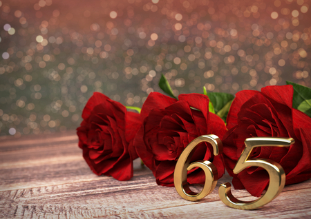 65th: birthday concept with red roses on wooden desk. 3D render - sixtyfifth birthday. 65th