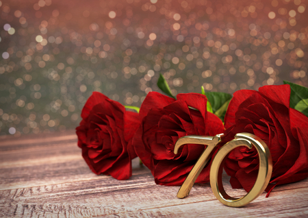 seventieth: birthday concept with red roses on wooden desk. 3D render - seventieth birthday. 70th Stock Photo