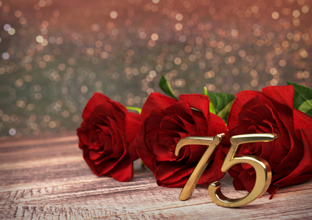 birthday concept with red roses on wooden desk. 3D render - seventyfifth birthday. 75th 스톡 콘텐츠