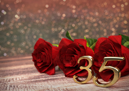 birthday concept with red roses on wooden desk. 3D render - thirtyfifth birthday. 35th