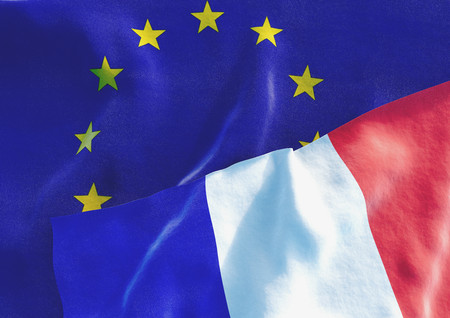international crisis: Flags of the France and the European Union. French Flag and EU Flag. 3D render