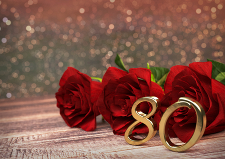 80th: birthday concept with red roses on wooden desk. 3D render - eightieth birthday. 80th