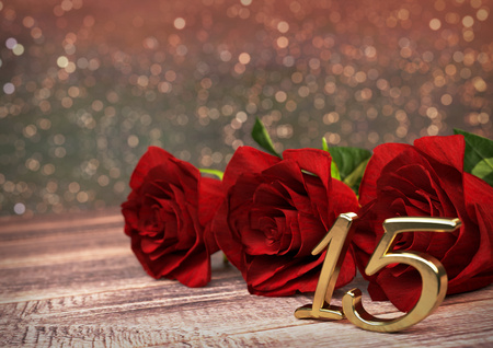 15th: birthday concept with red roses on wooden desk. 3D render - fifteenth birthday. 15th