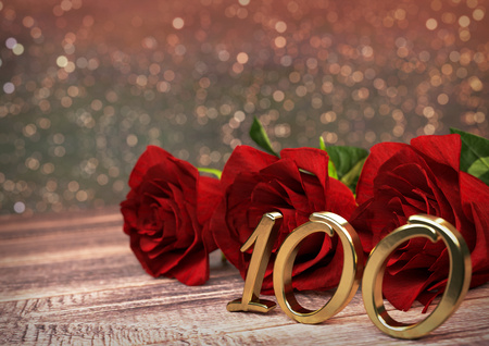 birthday concept with red roses on wooden desk. 3D render - hundredth birthday. 100th