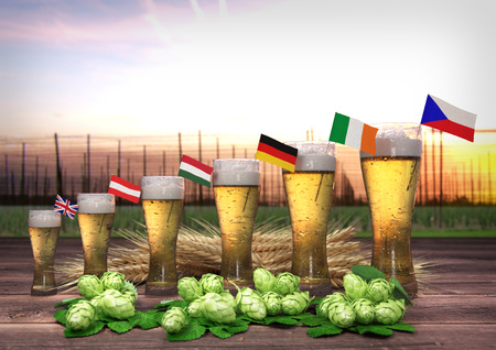 hopgarden: Concept of world beer consumption - 3D render