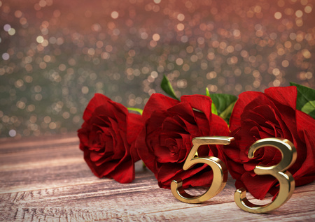 third birthday: birthday concept with red roses on wooden desk. 3D render - fifty-third birthday. 53rd