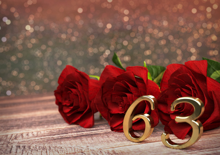 third birthday: birthday concept with red roses on wooden desk. 3D render - sixty-third birthday. 63rd