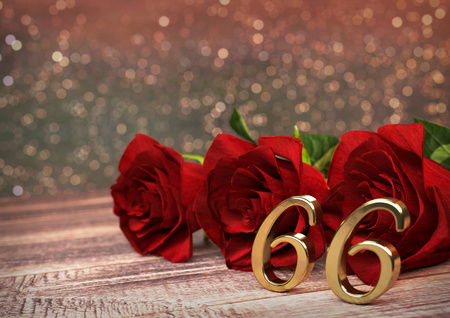 sixth birthday: birthday concept with red roses on wooden desk. 3D render - sixty-sixth birthday. 66th