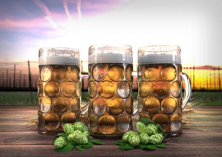hopgarden: three oktoberfest glasses of beer with barley and hops on wooden desk and hop-garden on background- 3D render