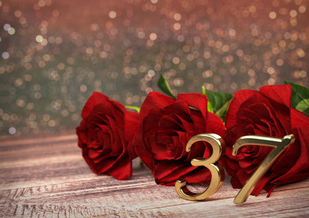 birthday concept with red roses on wooden desk. 3D render - thirty-seventh birthday.37th