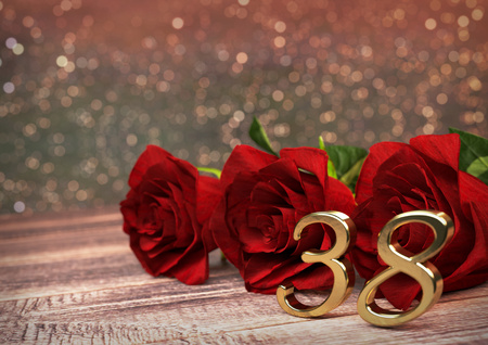 birthday concept with red roses on wooden desk. 3D render - thirty-eighth birthday. 38th