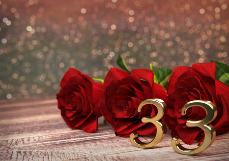 third birthday: birthday concept with red roses on wooden desk. 3D render - thirty-third birthday. 33rd