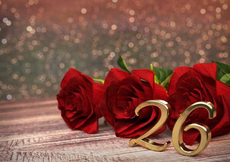 twenty six: birthday concept with red roses on wooden desk. 3D render - twenty-sixth birthday. 26th