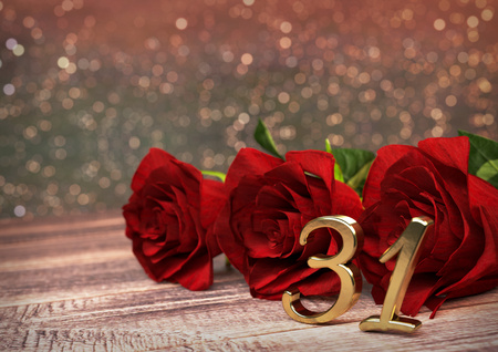 31st: birthday concept with red roses on wooden desk. 3D render - thirty-first birthday. 31st