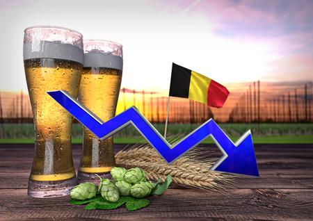 declining: declining beer consumption in Belgium - 3D render Stock Photo