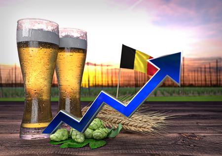 render: rising beer consumption in Belgium - 3D render Stock Photo