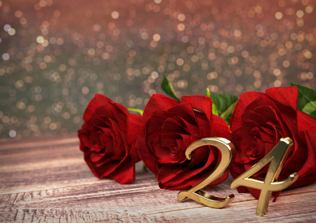 birthday concept with red roses on wooden desk. 3D render - twenty-fourth birthday. 24th