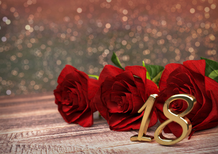 happy 18th birthday: birthday concept with red roses on wooden desk. 3D render - eighteenth birthday. 18th