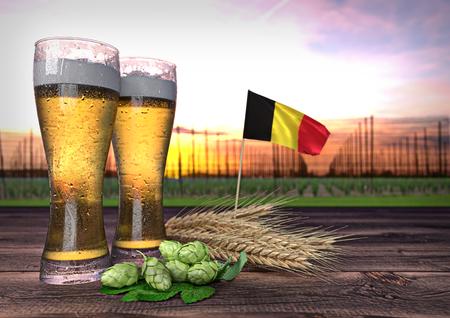 hopgarden: concept of beer consumption in Belgium - 3D render Stock Photo