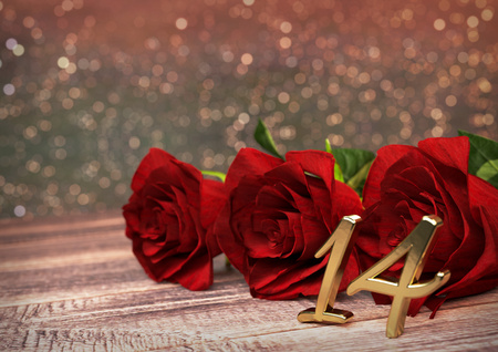 fourteenth: birthday concept with red roses on wooden desk. 3D render - fourteenth birthday. 14th