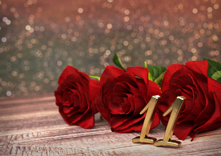 eleventh birthday: birthday concept with red roses on wooden desk. 3D render - eleventh birthday. 11th