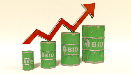 natural gas prices: the price of bio fuel rising up - 3D concept ilustration with oil barrels