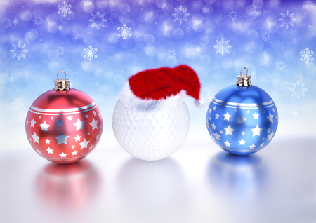 christmas balls and golf ball with santa red hat on bokeh background - 3D render