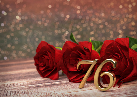 sixth birthday: birthday concept with red roses on wooden desk. 3D render - seventy-sixth birthday. 76th