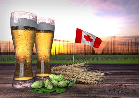 hopgarden: concept of beer consumption in Canada - 3D render