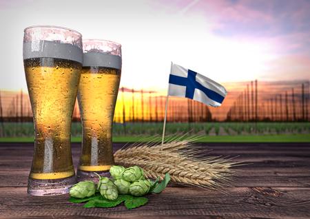 hopgarden: concept of beer consumption in Finland - 3D render