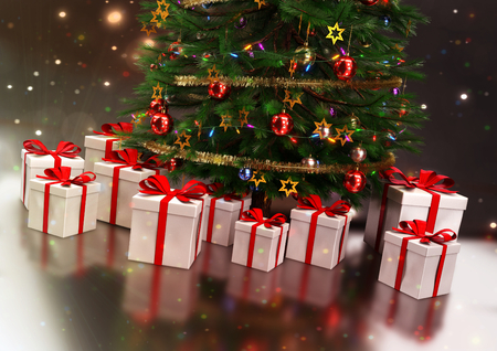 christmas gifts: gifts under the Christmas tree - 3D render. Stock Photo